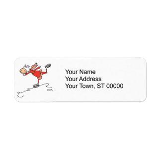 happy ice skating cow return address labels