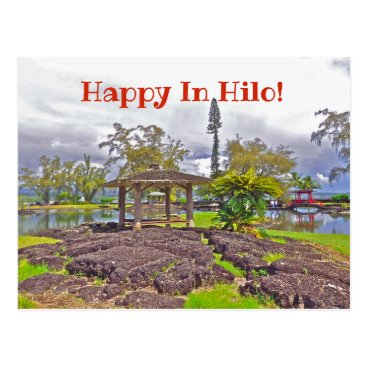 """Hawaiian Themed """"HAPPY IN HILO"""" /LILIUOKALANI GARDENS POSTCARD"""