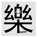 Happy in Kanji with Smiley Poster