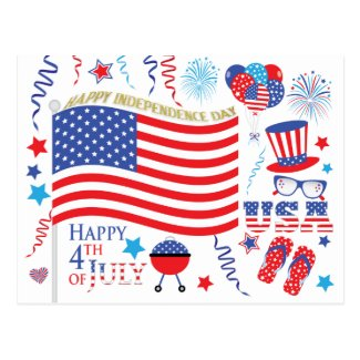 Happy Independence Day 4th July Red White Blue Postcard