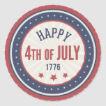 Happy Independence Day 4th Of July Classic Round Sticker