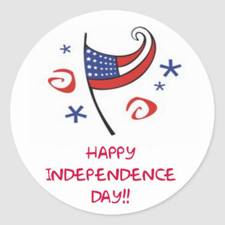 Happy Independence Day Classic Round Sticker