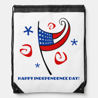 Happy Independence Day Drawstring Backpack