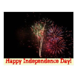"""Happy Independence Day!"" Fireworks Postcard"