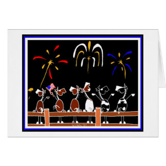 Happy Independence Day Horse Cartoon Card