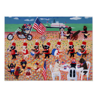 Happy Independence Day Labradors Artwork Poster
