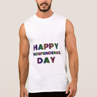 Happy Independence Day Rainbow Glitter Typography Sleeveless Shirt