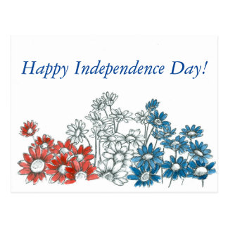 Happy Independence Day Red White Blue Flowers Postcard