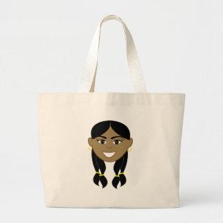 Happy Indian Girl Face Jumbo Tote Bag