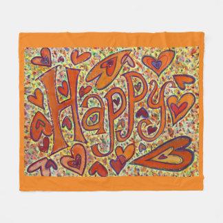 Happy Inspirational Custom Fleece Throw Blanket