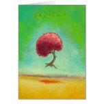 Happy inspirational flying tree fun art Rejoice Greeting Card