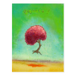Happy inspirational flying tree painting fun art postcard