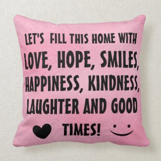 Inspirational Quote Print Cute Throw Pillow pink color