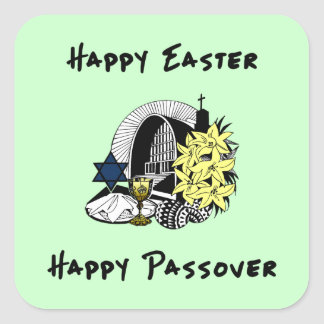 Happy Interfaith Easter and Passover Square Sticker
