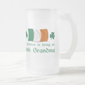 Happy Irish Grandma Frosted Glass Beer Mug