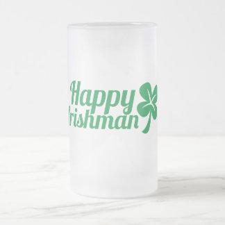 Happy Irishman! Frosted Glass Beer Mug