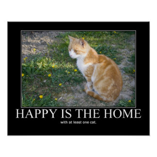 Happy is the Home Cat Artwork Poster