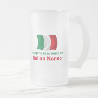 Happy Italian Nonno Frosted Glass Beer Mug