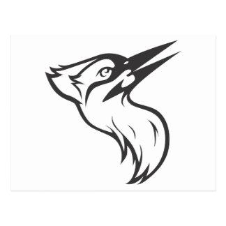 Happy Ivory Billed Woodpecker Bird in Black Postcard