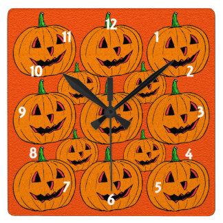 Happy Jack o Lantern Cartoon Pattern Square Wall Clock