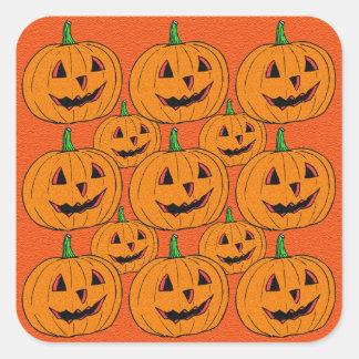 Happy Jack o Lantern Cartoon Pattern Square Sticker