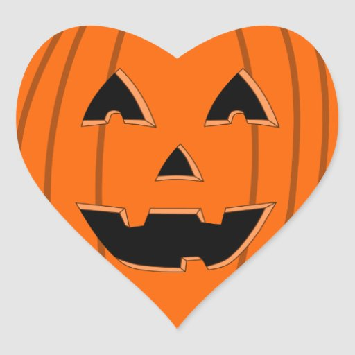 Happy jack o lantern face cartoon heart sticker zazzle