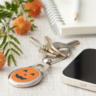 Happy Jack O Lantern Face Cartoon Silver-Colored Oval Metal Keychain