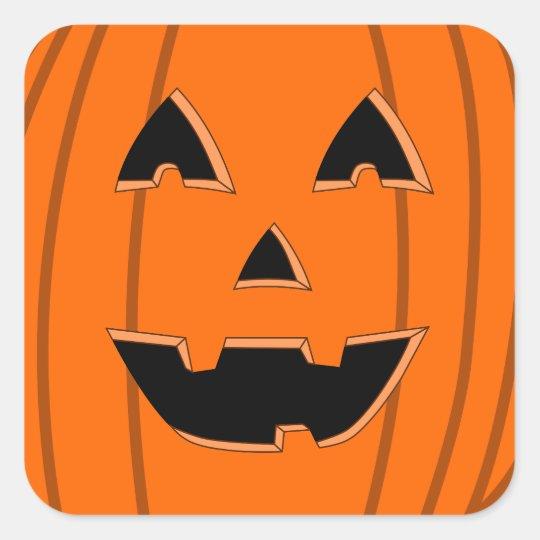 Aninimal Book: Happy Jack O Lantern Face Cartoon Square Sticker   Zazzle.com