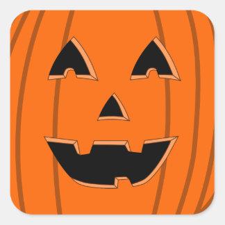 Happy Jack O Lantern Face Cartoon Square Sticker