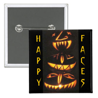 Happy Jack o Lantern Faces Pinback Buttons