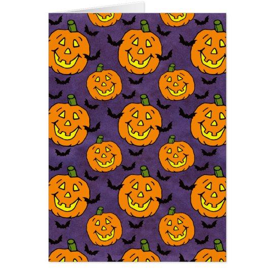 Happy Jack-o-lanterns and Bats Card