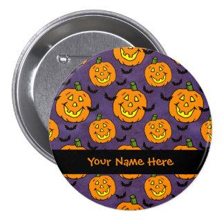 Happy Jack-o-lanterns and Bats Pinback Button