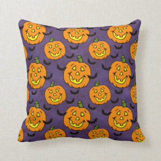 Happy Jack-o-lanterns and Bats Throw Pillow