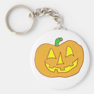 Happy Jack O'Lantern Basic Round Button Keychain