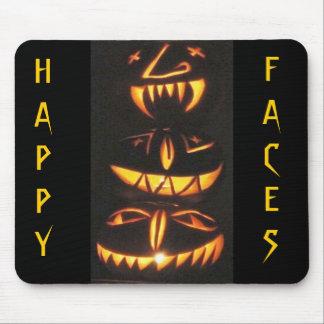 Happy Jack o'Lantern Faces Mouse Pad