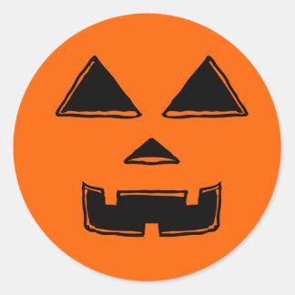 Happy Jackolantern Face Classic Round Sticker