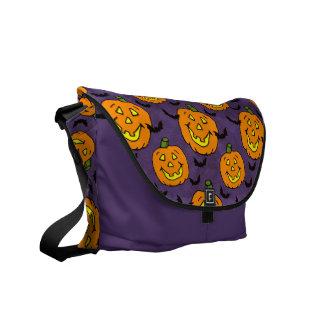 Happy Jackolanterns and Bats Messenger Bags