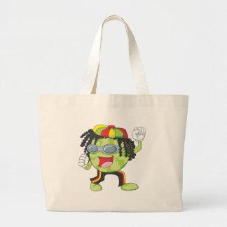 Happy Jamaican Watermelon Dancing Large Tote Bag