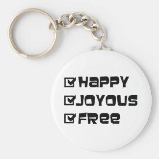 Happy Joyous Free Basic Round Button Keychain