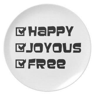 Happy Joyous Free Dinner Plate