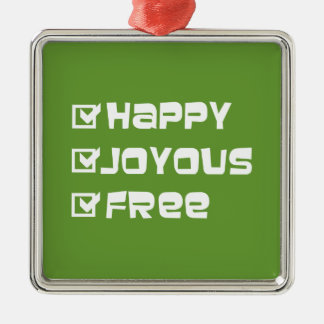 Happy Joyous Free Square Metal Christmas Ornament