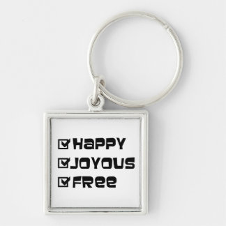 Happy Joyous Free Silver-Colored Square Keychain