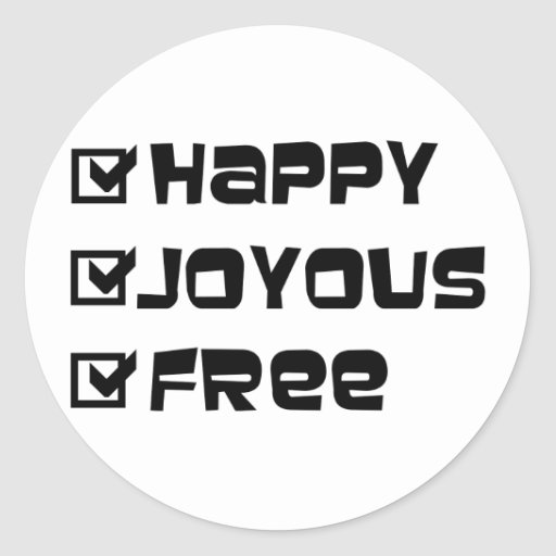 Happy Joyous Free Stickers