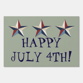 """Happy July 4th!, Gray, Large, 24"""" x 36"""" Yard Sign"""
