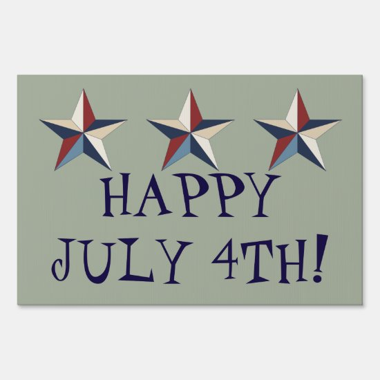 "Happy July 4th!, Gray, Large, 24"" x 36"" Yard Sign"