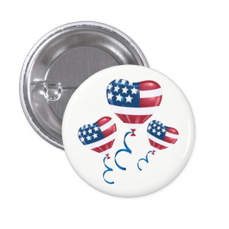 Happy July 4th heart balloons Pinback Button