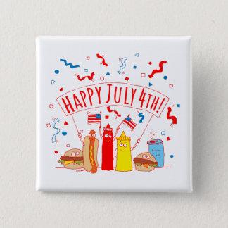 Happy July 4th Picnic Pinback Button