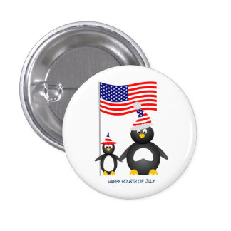 Happy July Fourth Penguins Button