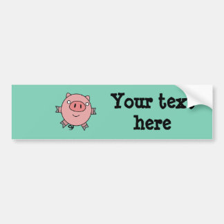 Happy Jumping Pig Bumper Sticker
