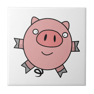 Happy Jumping Pig Ceramic Tile